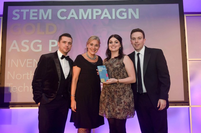 Vicki Caddy and Sarah McCurdy from ASG PR pick up their Gold Award from host Pete Snodden and CIPR Committee Member, John Megaughin