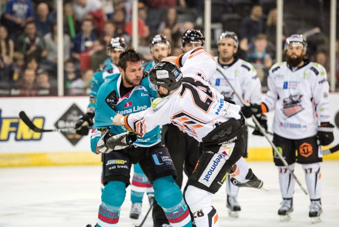 Giants Captain Adam Keefe drops the gloves on Saturday night in Belfast. Photo: Andy Gibson
