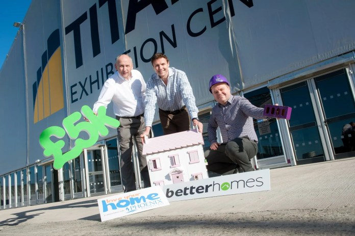 Betterhomes' to give away a £5k home makeover this weekend ... and NI Hospice will benefit, too!   Betterhomes, Northern Ireland's largest locally owned home improvement business, is gearing up for one of its busiest weekends to-date, attending the 'Love Your Home' show.   Held at the exciting new Titanic Exhibition Centre, Betterhomes will be taking centre stage showcasing a selection of stylish, innovative and affordable products from across its vast range, as well as giving every visitor to the event a chance to win a £5k Betterhomes makeover. In addition, the company's management has committed to making a donation to the Northern Ireland Hospice for every registration of interest generated from their stand.   'Love Your Home' takes place at the Titanic Exhibition Centre 10th – 11th October 2015. To register for the show -- and qualify for the Betterhomes draw — visit  http://yourhome.ie/show/   James Clarke, General Manager at Betterhomes is pictured alongside show organiser, Brian Corry with John Philips from the Northern Ireland Hospice. ---ENDS--- Press contact: Angela Hunter on 028 9042 7860 / 07970 294 406 or e-mail angela@birdsongni.co.uk.