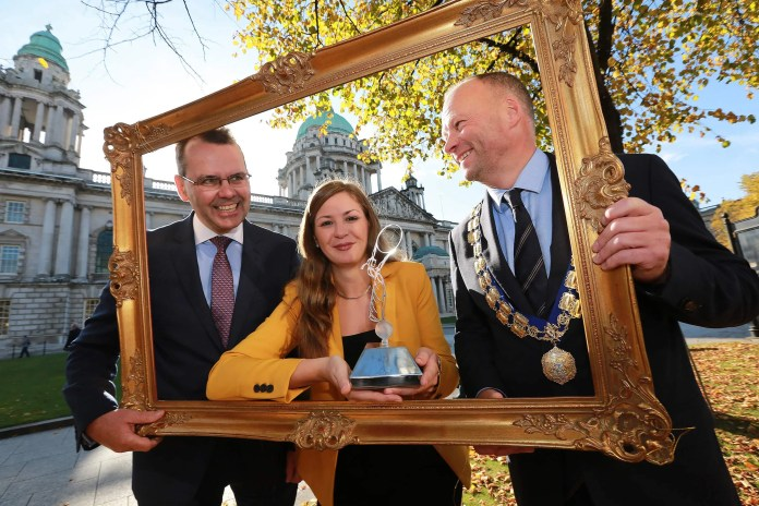 Mark O'Brien, Commercial Bank Manager, Belfast City Branch, Bank of Ireland UK, is pictured with Cheryl Stone, Abacus Recruitment, winner of the Best Marketing Initiative in the 2015 Belfast Business Awards, alongside Hugh Black, President of Belfast Chamber of Trade & Commerce.