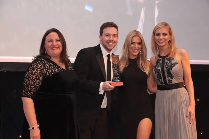 Category sponsor, Penny Anderson, from Precise,John Megaughin and Anna Morris from Clearbox with presenter, Rachel Riley