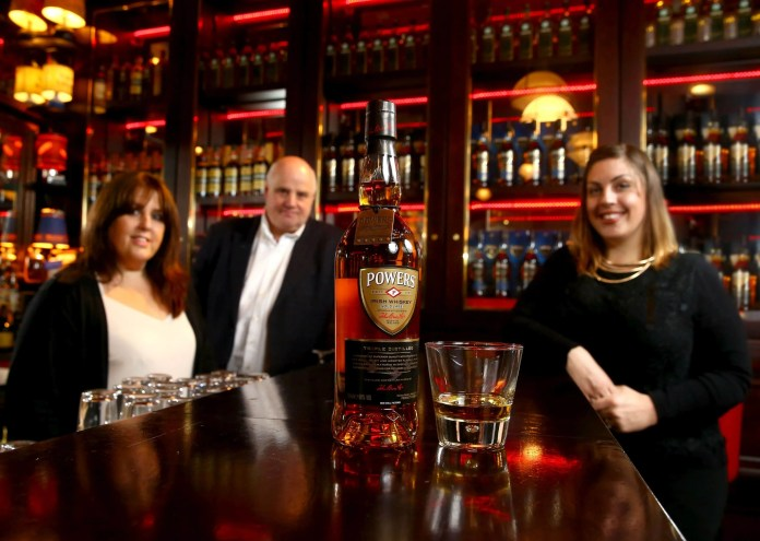 Sarah Harvey, Brand Manager for Powers Irish Whiskey, Suzie Gates of Dillon Bass and Willie Jack, proprietor of The Harp Bar.