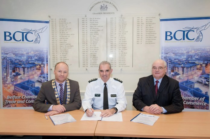 Pictured is Hugh Black, President, BCTC alongside Chief Inspector Robert Murdie and William McGivern, Chairman, Belfast City Centre Management.