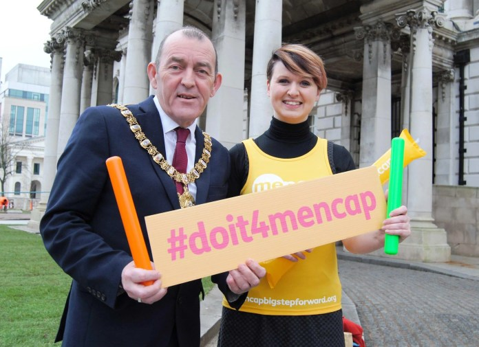 Lord Mayor of Belfast, Councillor Arder Carson, joins Head of Regional Fundraising for Mencap Northern Ireland, Vanessa Elder, to celebrate Mencap's partnership with the 2016 Deep RiverRock Belfast City Marathon. The learning disability charity is the official charity partner of the marathon for the next three years.
