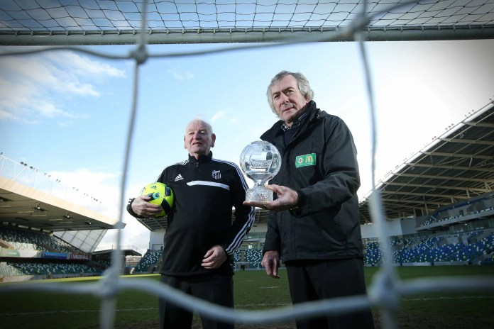 Press Release image - No Fee  Press Eye - Belfast  -  8th February 2015 -  Pat Jennings, Northern IrelandÕs most capped player announced the launch of the 2016 McDonaldÕs Irish FA Community Awards at the National Football Stadium at Windsor Park. Nominations for 2016 Northern Ireland FA Community Awards, presented by McDonaldÕs are now open. Pat Jennings is pictured with  2015 People's Award Winner Eugene McGeehan, Santos Football Club. Picture by Kelvin Boyes  / Press Eye.