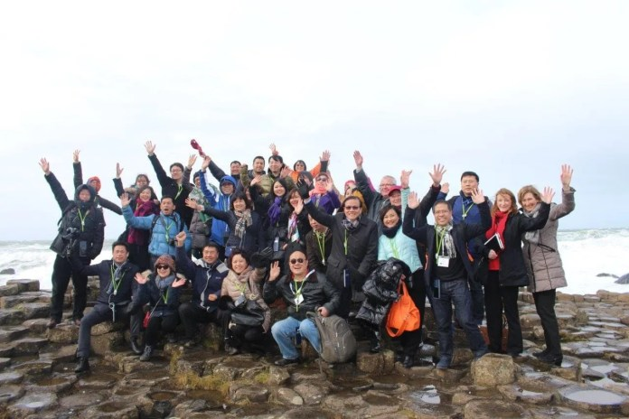 Chinese tour operators at Giant's Causeway