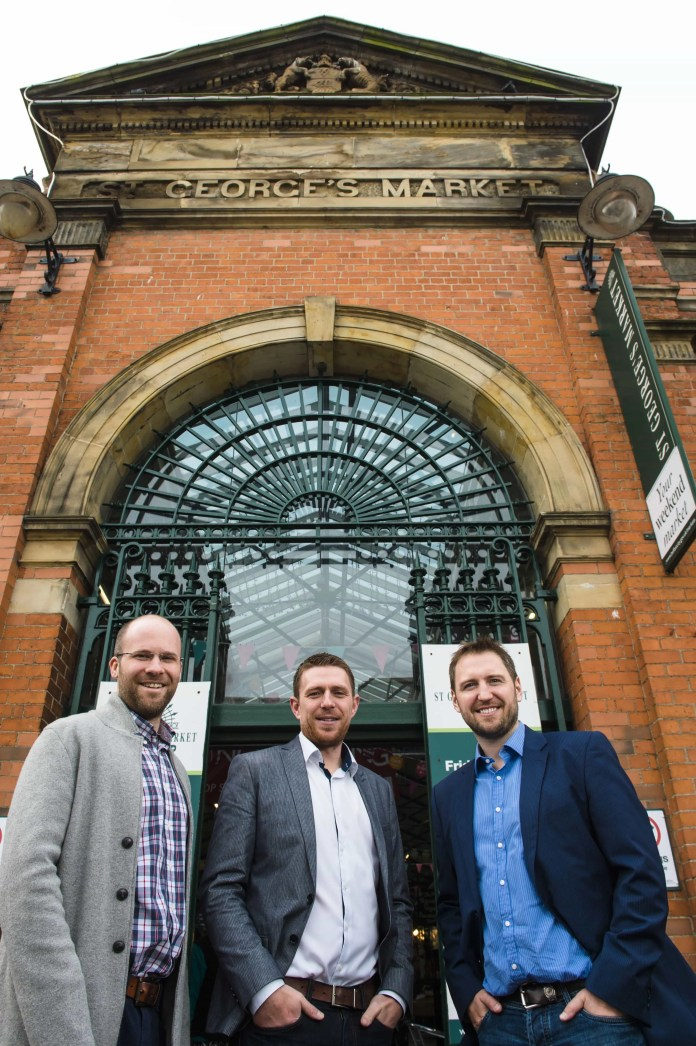 Mike Robinson; CTO Deloitte Digital, Gareth Quinn; Director Digital DNA, Roger Busby; Manager Deloitte Digital at St Georges Market Belfast, venue for DDNA 2016. Picture: Elaine Hill