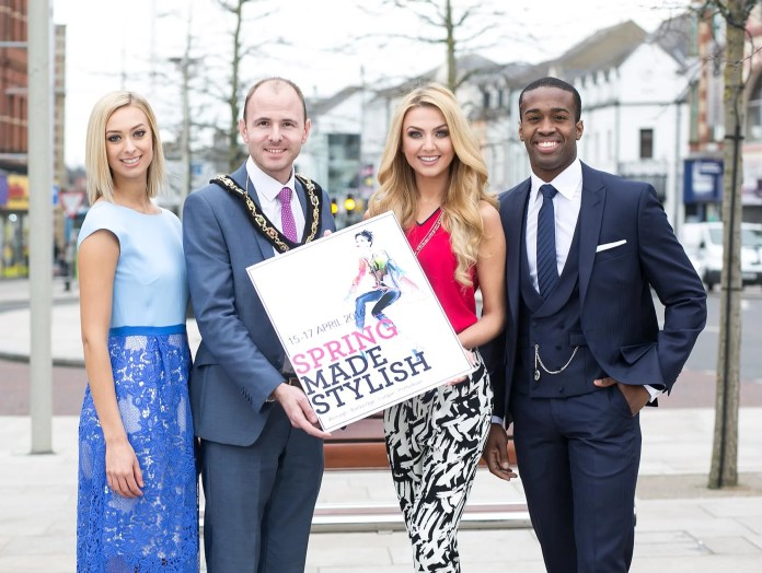 "SPRING MADE STYLISH: Style-seekers have only a few days left to wait before strutting their stuff at the hotly-anticipated ""Spring Made Stylish"" festival weekend, which takes place across Armagh City, Banbridge, Lurgan and Portadown from the 15th – 17th April. Officially launching the event is Cllr Darryn Causby, Lord Mayor of Armagh City, Banbridge and Craigavon, who is pictured with model Sarah Moore, former Miss Northern Ireland Meagan Green, and current Mr Northern Ireland and Lurgan local, Dwayne Kerr, all of whom have been kitted out with clothes available from local retailers. For a full listing and information on what events require pre-booking or tickets visit www.springmadestylish.com"