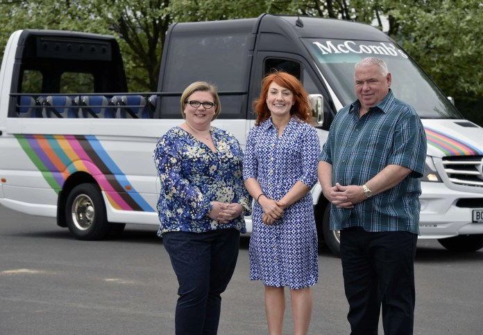 Pictured are Daniele Delahunt, Business Manager at Danske Bank (centre) with Rodney and Caroline McComb, Directors at McComb Coach Travel