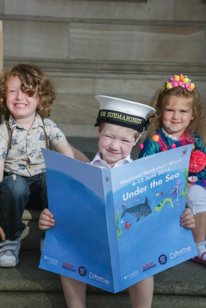 Johan Nixon-Close, Seth Edgar and Indi Thompson, all aged 4 from Glenbank Nursery School, dive into an underwater themed book as National Bookstart Week kicks off with a story and rhyme session at the  Belfast Harbour Commissioners Office. As part of National Bookstart Week (6-12 June) which aims to encourage more families with pre-school children to share stories together and get into the habit of reading every day, 6,000 children in Northern Ireland will receive a free book sponsored by Belfast Harbour.