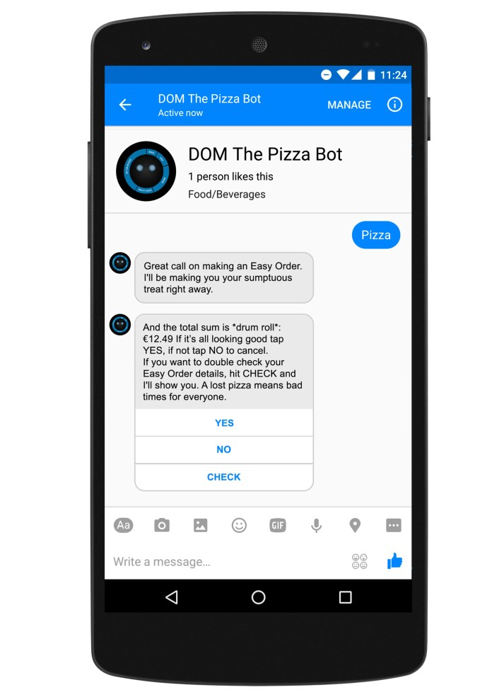 Domino's Facebook Messenger