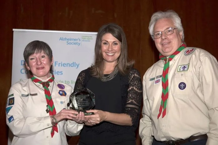 81st Belfast beaver Colony and one of their leaders Jacqui Berryman                   Beaver colony Leaders Jacqui and Ian Berryman pictured with Alzheimer's Society Ambassador Sarah Travers