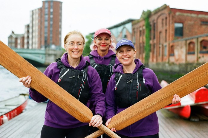 Breast Cancer Survivors paddle the Lagan for their first ever Dragon Boat Regatta