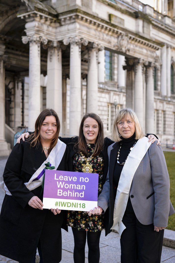 International Women's Day are Belfast Lord Mayor Nuala McAllister along with councillors Deirdre Hargey and Aileen Graham. The International Women's Day march and rally, organised by Reclaim the Agenda, will be held on March 10 starting from Writer's Square and ending at City Hall. There will be more than 50 events across Northern Ireland in March to celebrate #IWDNI2018.
