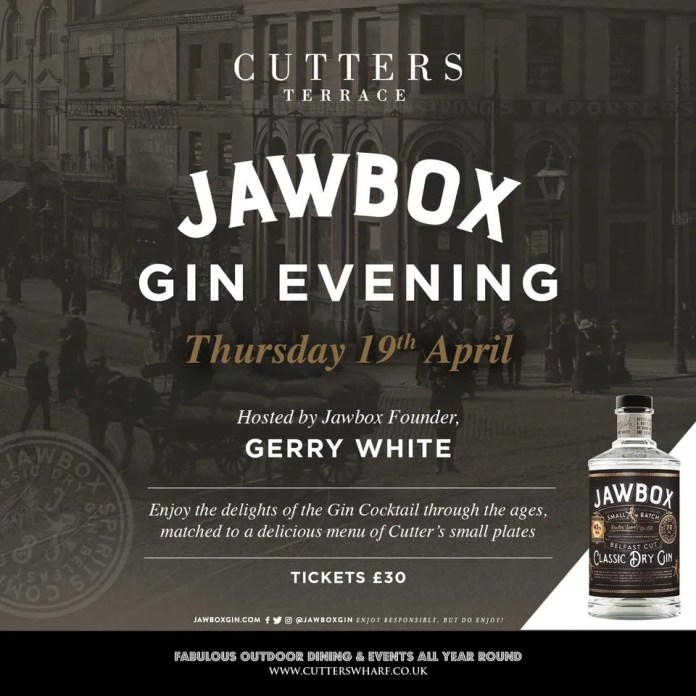 Jawbox Gin Evening Cutters Wharf