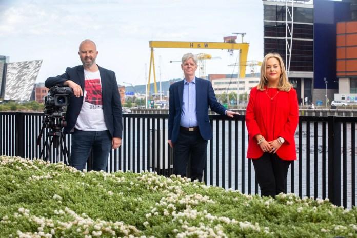 UTV Goes Green. Simon Clemison, UTV's Head of News and Programes, Tony Curry, Programmes Editor and Denise Smyth, Finance Manager marking UTVs albert accreditation