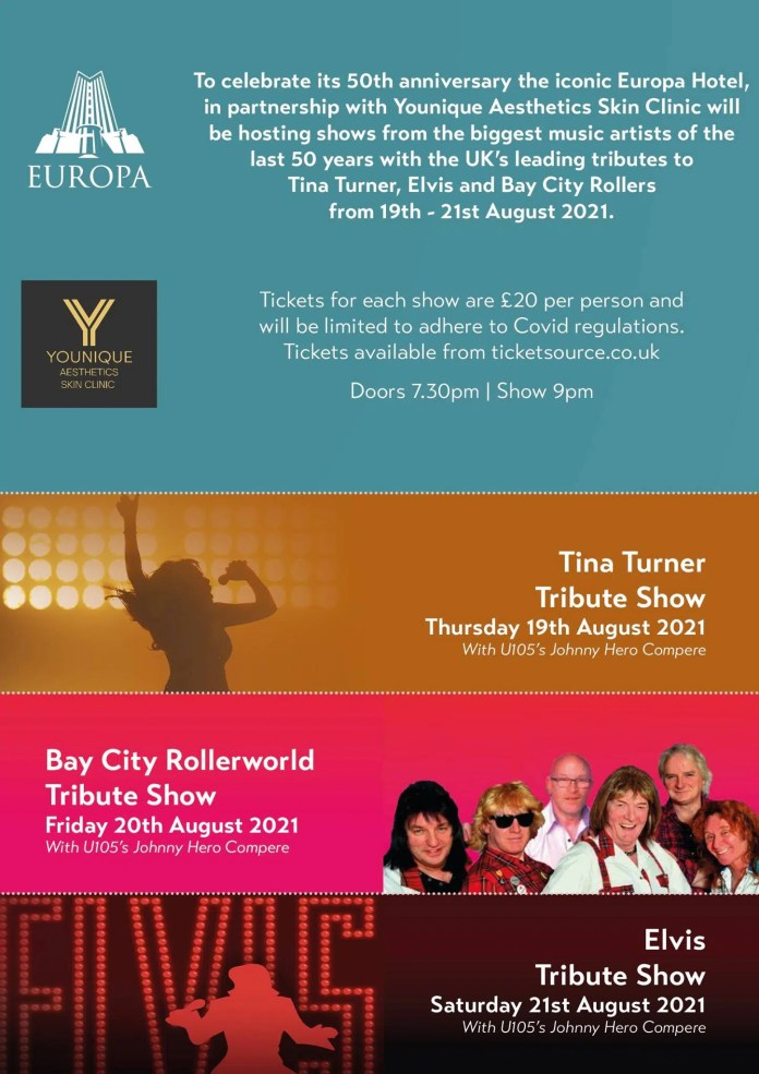 EUROPA HOTEL CELEBRATES 50th ANNIVERSARY WITH UK'S LEADING TRIBUTE CONCERTS