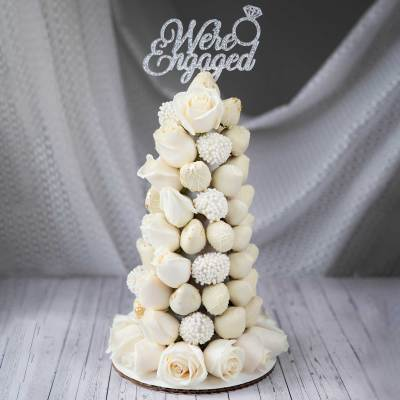 White Chocolate Strawberry and Rose Tower