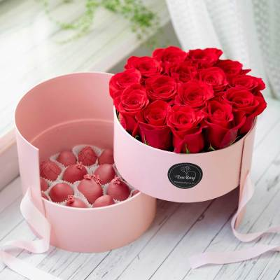 pink chocolate strawberries with roses