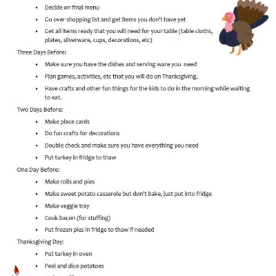 Thanksgiving To Do List – take the stress out by planning ahead