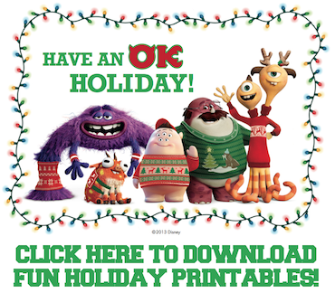 Free Monsters University Holiday Printables