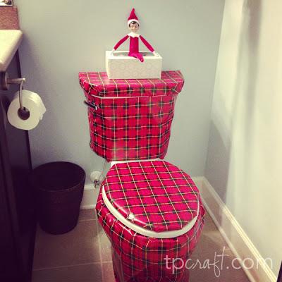 Elf on the Shelf Ideas - Wrapped Toilet