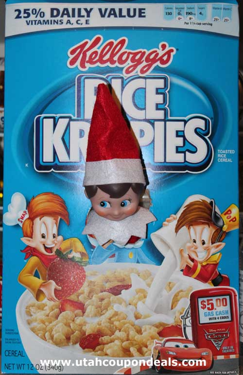 Elf on the Shelf Ideas - Rice Krispies Box Head