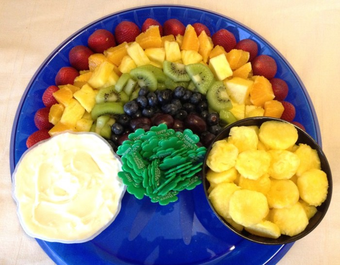 17 St. Patrick's Day Treats {easy, fun, and colorful} - Rainbow & Pot o' Gold Fruit Platter