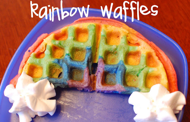 17 St. Patrick's Day Treats {easy, fun, and colorful} - St. Patrick's Day Rainbow Waffles