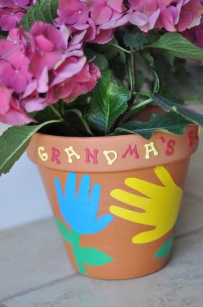 Grandma Flowerpot Hand Prints Craft