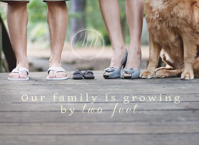 Creative Ways To Announce Pregnancy - Our Family is Growing by Two Feet