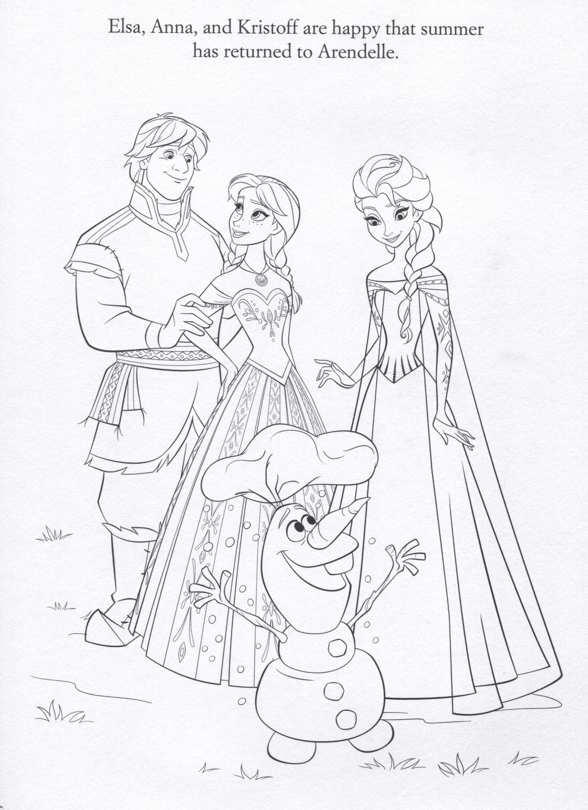 FROZEN Elsa Anna Kristoff And Olaf Coloring Page