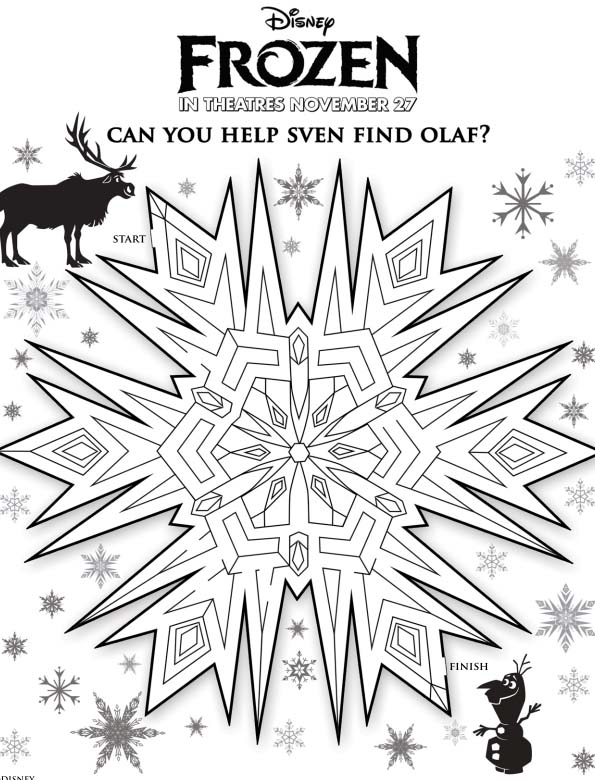 Click Image For Large Printable Snowflake Maze With Olaf