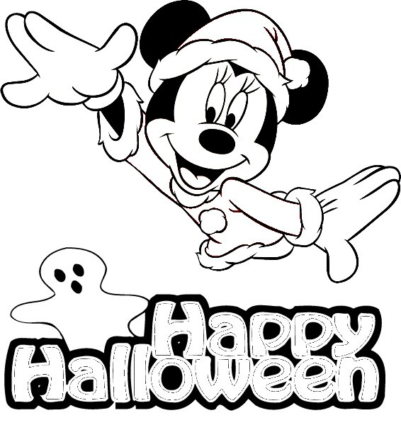 Minnie Mouse   Free Disney Halloween Coloring Pages