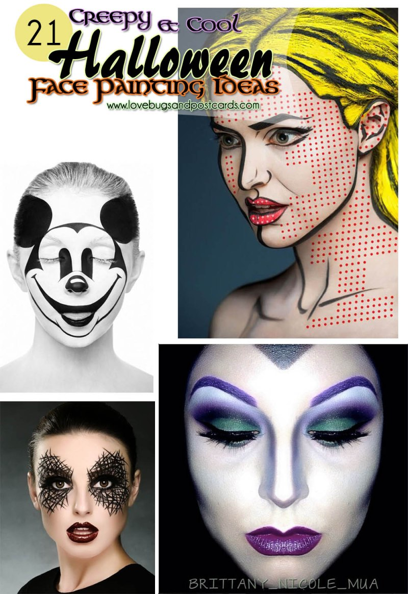 21 creepy and cool halloween face painting ideas - lovebugs and