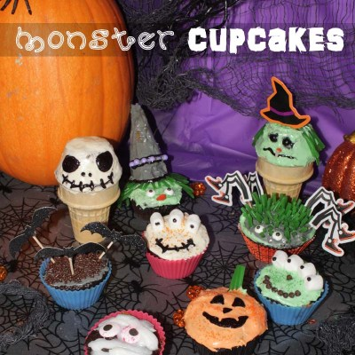 Monster Cupcakes {Alien, Skeleton, Pumpkin, Mummy and more}