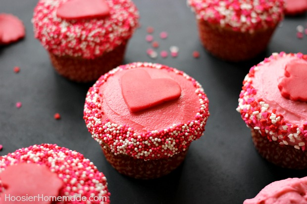 Sweetheart Cupcakes with Candy Clay Hearts