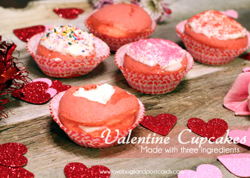 Valentine Cupcakes Recipe (3 ingredients)