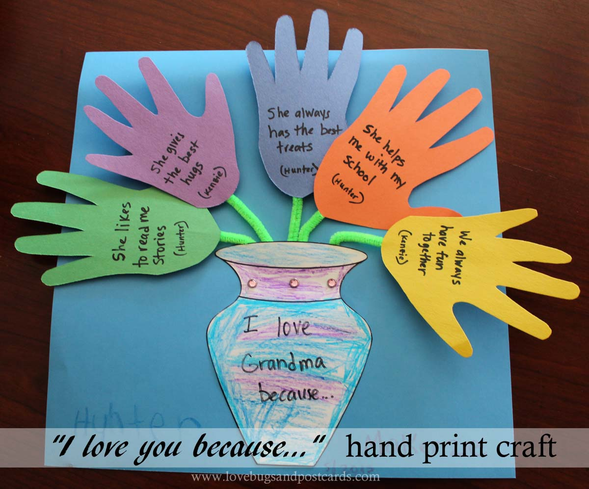 Mother S Day I Love You Because Hand Print Craft