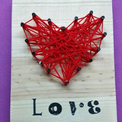DIY String Art Valentine's Heart Craft