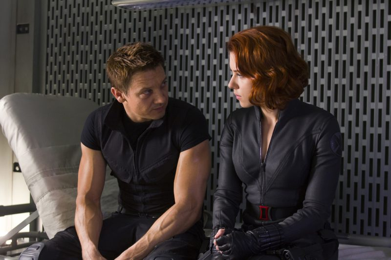 Marvel's movie The Avengers .Jeremy Renner as Hawkeye and Scarlett Johansson as Black Widow in Marvel's The Avengers, opening in theaters on May 4, 2012. The Joss Whedon?directed action-adventure is presented by Marvel Studios in association with Paramount Pictures and also stars Robert Downey Jr., Chris Evans, Mark Ruffalo, Chris Hemsworth and Samuel L. Jackson...Ph: Zade Rosenthal ..© 2011 MVLFFLLC. TM & © 2011 Marvel. All Rights Reserved.