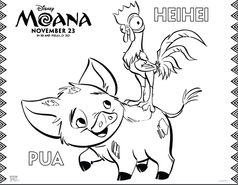 HEIHEI and PUA Coloring Page - Disney's Moana
