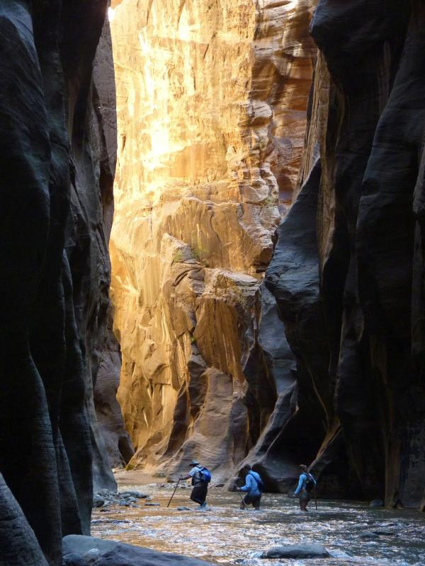 Hikers travel through The Narrows.