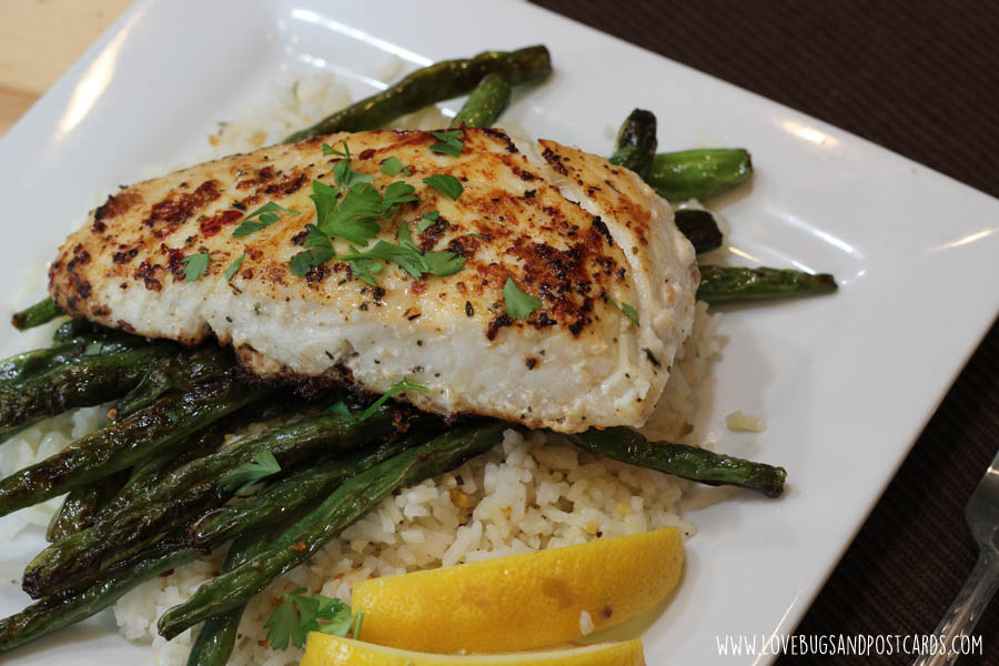Pan Seared Halibut Recipe with Sautéed Green Beans