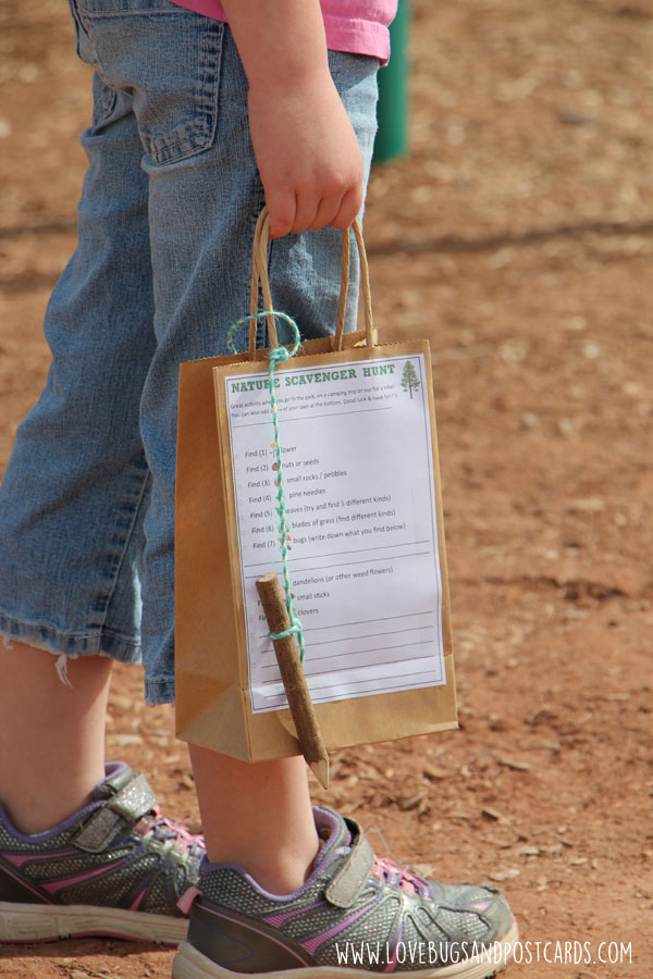 Free printable Nature Scavenger Hunt activity sheet for kids