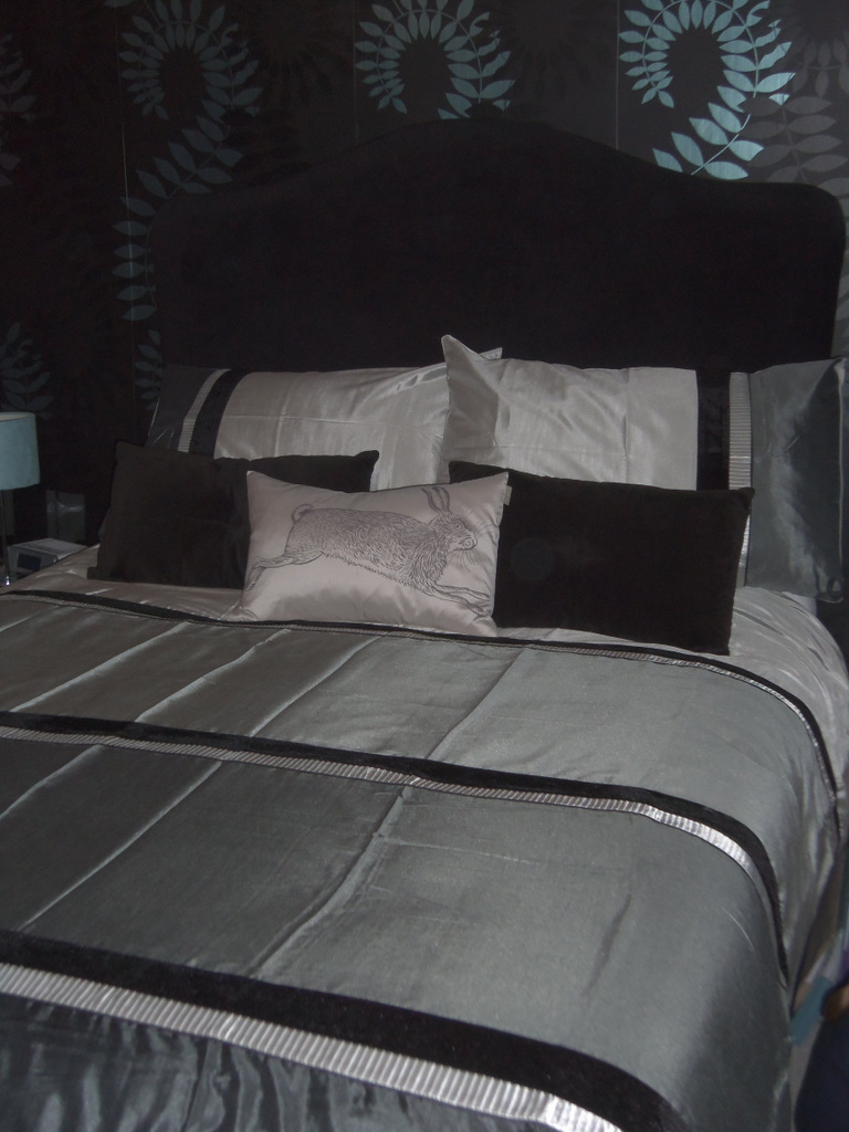 silver bed linen