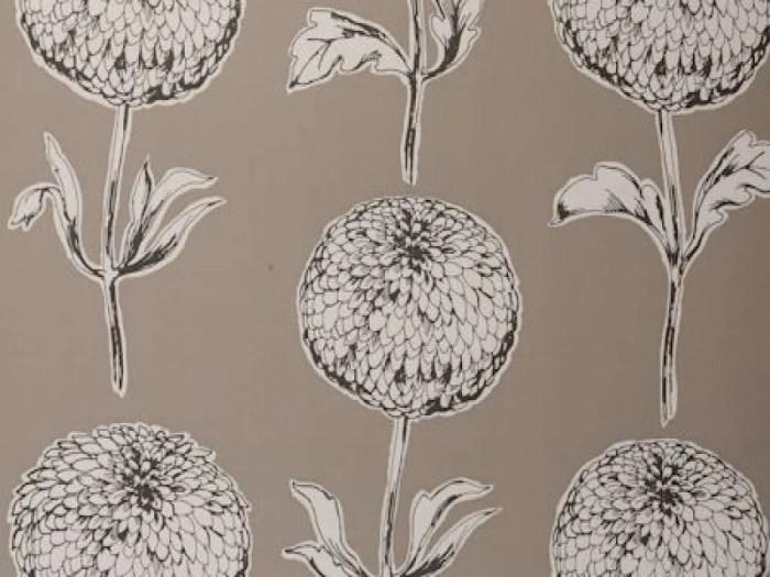 Dahlia Taupe Wallpaper