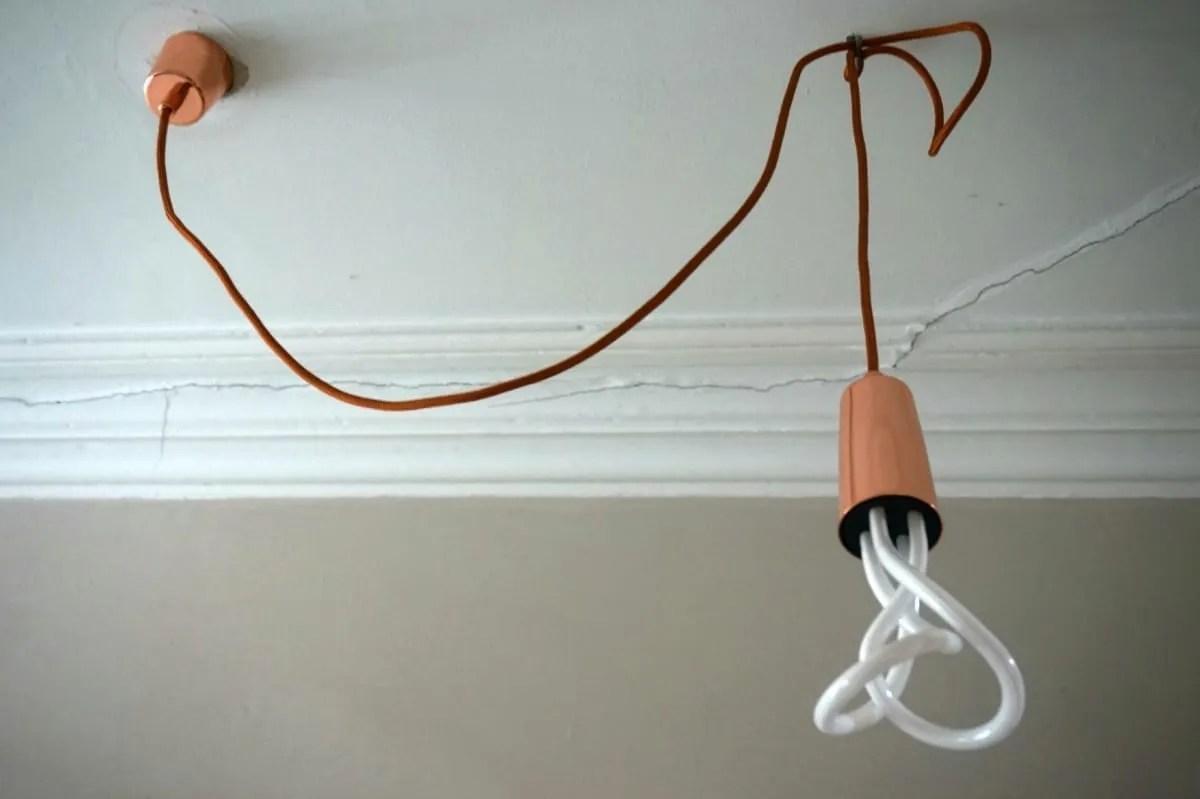 Copper pendant and plumen lightbulb