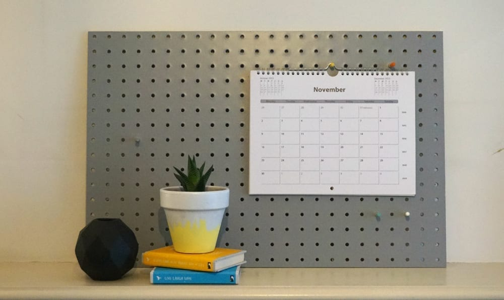 Rose and Grey pegboard