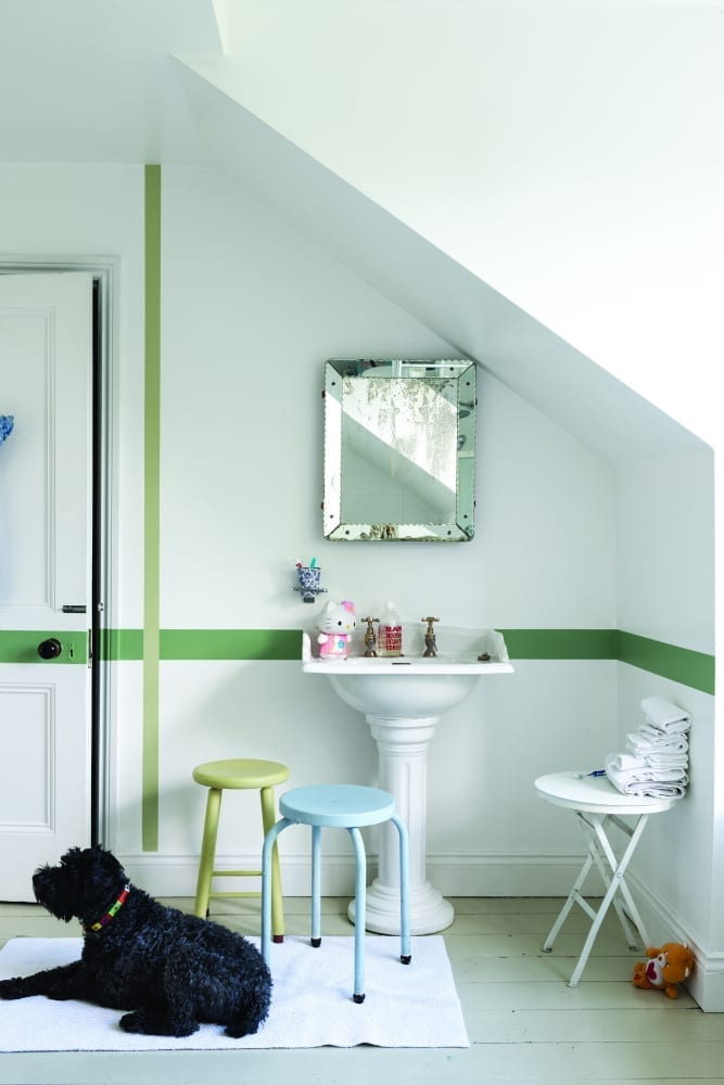 White and Green Children's Bathroom